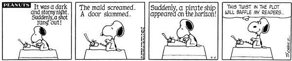 Snoopy baffles his readers