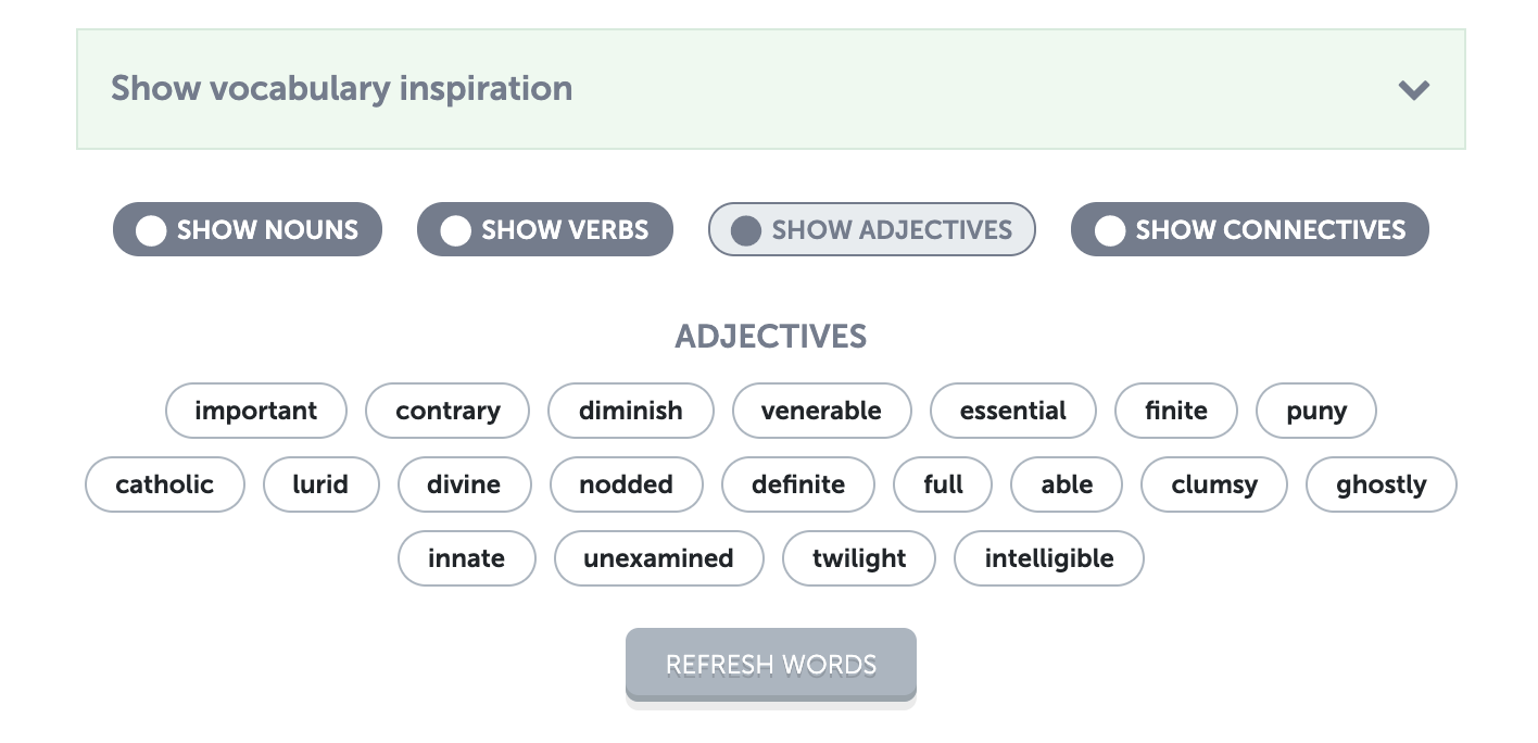 Vocabulary support example