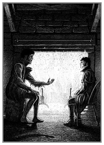 Frankenstein's monster confronts his creator by John Coulthart