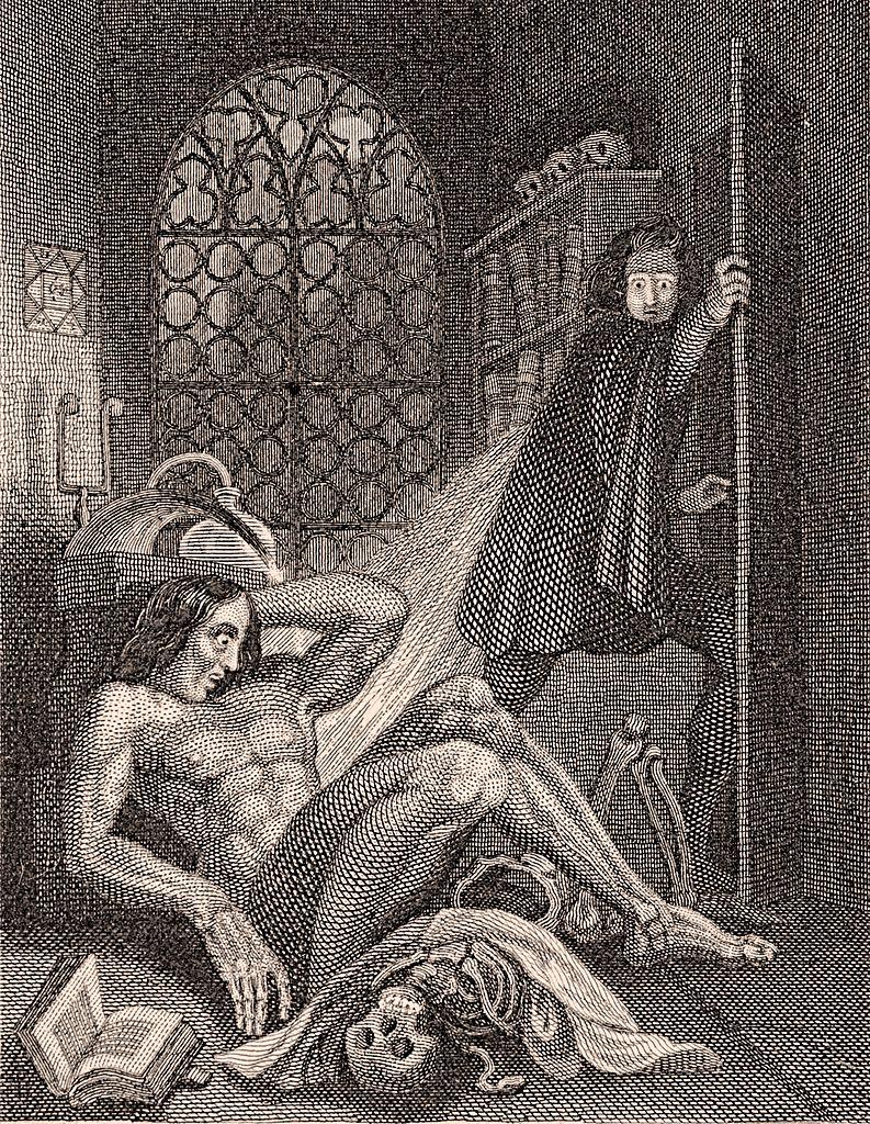 Frankenstein frontispiece illustration 1831