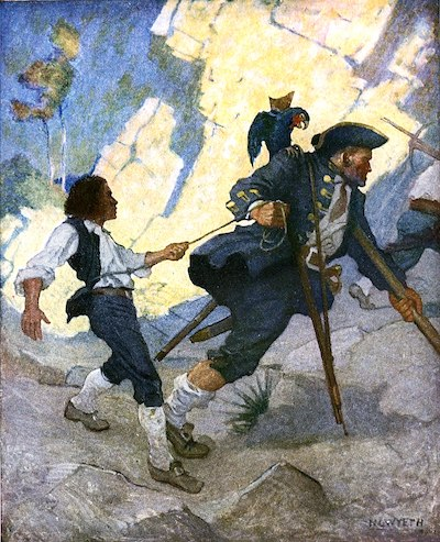 N C Wyeth's painting of the pirate Long John Silver from Treasure Island